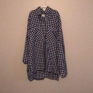 Old Navy Blue and white half button up shirt